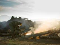 Welder worker welding metal. Male worker welding metal outdoors Stock Photography
