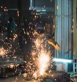 Welder worker welding metal. Working people Royalty Free Stock Photo