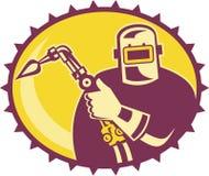 Welder Worker Welding Torch Retro. Illustration of a welder worker fabricator with welding torch set inside ellipse done in retro style Royalty Free Stock Image