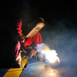 Welder working in factory Royalty Free Stock Photo