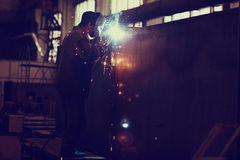 Welder working. At the factory Royalty Free Stock Photo