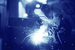 Welder working at  factory. Welder working at the factory Royalty Free Stock Image