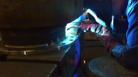Welder working. Industrial video. stock footage