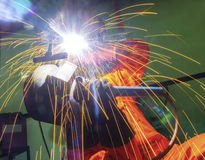 Welder is working in location Stock Photo