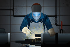 Welder working on a machine. A vector illustration of welder working on a machine Stock Photography