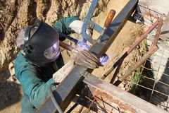 Welder working outside Royalty Free Stock Photo