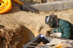 Welder working outside Royalty Free Stock Images