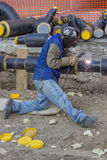 Welder working on pipeline construction 2 Stock Image