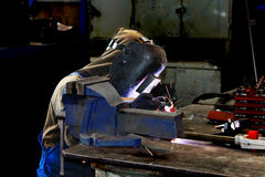 Welder working in production workshop Stock Photography