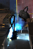 Welder working at shipyard Royalty Free Stock Images
