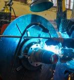 Welder working with steel Stock Photo