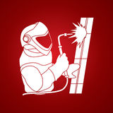 Welder working vector. Welder working with fire graphic vector Stock Photo