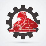 Welder. Working welding designed on gear wheel  background graphic vector Royalty Free Stock Photography