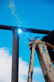 Welder works sparkle Stock Image