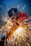 Welder works sparkle Stock Images