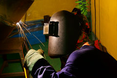 Welder in workshop Royalty Free Stock Photos