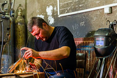 Welder in the workshop Royalty Free Stock Photography