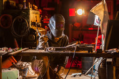 Welder in workshop Royalty Free Stock Photo