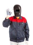 Welder in workwear suit. Stock Images