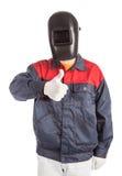 Welder in workwear suit. Royalty Free Stock Image