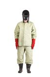 Welder in workwear suit with mask. Stock Photo