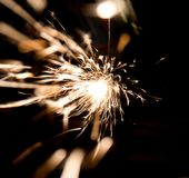 Welders in action with bright sparks. Construction and manufacturing theme Stock Image