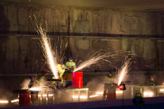 Welders in action with bright sparks during the opening show of Royalty Free Stock Image