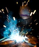 Welders i handling Royaltyfria Foton