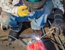 Welders job. In the pipeline repairs Royalty Free Stock Images