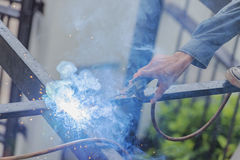 Welders. Mill grinding with sparks Royalty Free Stock Images