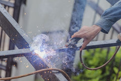 Welders. Mill grinding with sparks Royalty Free Stock Image