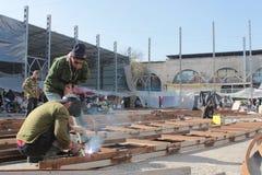 Welders in the osh bazaar in bishkek Stock Photography