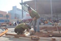 Welders in the osh bazaar in bishkek Royalty Free Stock Photo