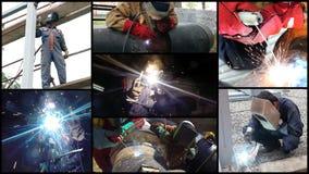 Welders på arbete - fotocollage Fotografering för Bildbyråer
