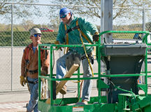 Welders Taking a Break. On construction site Stock Images