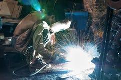 Welders in the use of welding. Welding steel structure in factory Royalty Free Stock Photo