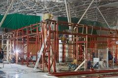 Welders weld steel frame Stock Images
