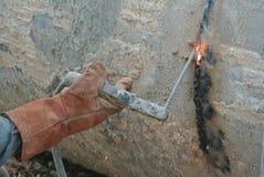 Welders welded bore pile metal casing Stock Photography