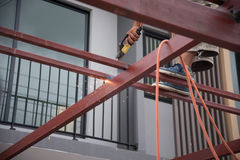 Welders welding metal, Welding. Work Stock Images