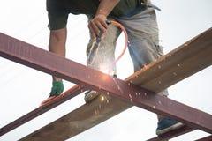 Welders welding metal, Welding. Work Stock Photo