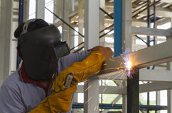 Welders were welding steel structural by arc welding. Welders were welding steel structural by arc welding in steel structure factory Royalty Free Stock Photo