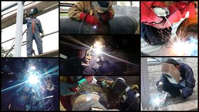Welders At Work - Photo Collage. Collage made of photos with industrial welders at work in various situations Stock Image