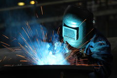 Welders worker. In the factory royalty free stock photo