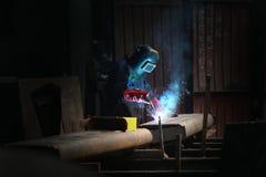 Welders worker. In the factory stock images