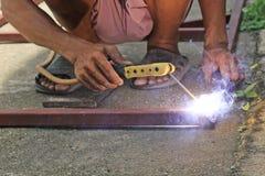 Welders working. Hand of Welders working in Thailand Royalty Free Stock Images