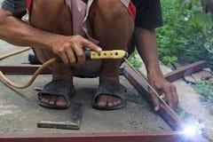 Welders working. Hand of Welders working in Thailand Royalty Free Stock Photo