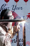 Welders are working in the New Year. Royalty Free Stock Photo