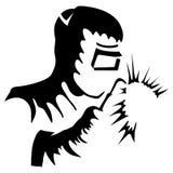 WelderWelding Black White teckning stock illustrationer