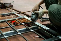 Welding. Worker welding on a steel structure Royalty Free Stock Photos