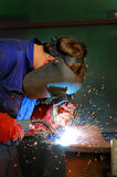 Welding. Of steel on site at a mining site stock photo